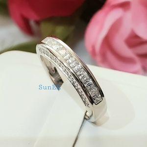 Real 925 Princess Cut Wedding Band Ring